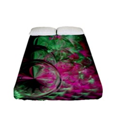 Pink And Green Shapes Make A Pretty Fractal Image Fitted Sheet (full/ Double Size) by Simbadda