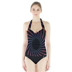 Fractal Black Hole Computer Digital Graphic Halter Swimsuit by Simbadda