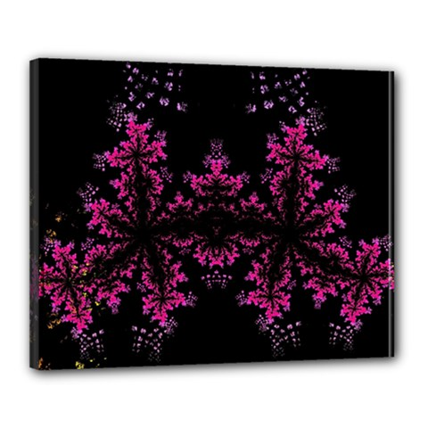Violet Fractal On Black Background In 3d Glass Frame Canvas 20  X 16  by Simbadda