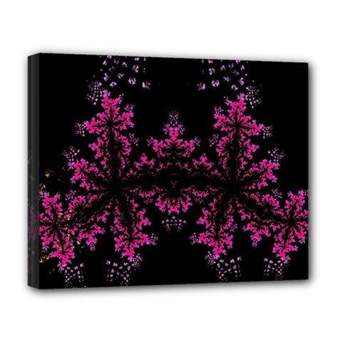 Violet Fractal On Black Background In 3d Glass Frame Deluxe Canvas 20  X 16   by Simbadda
