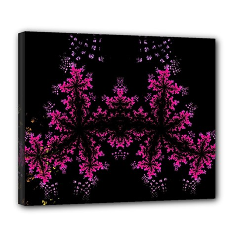 Violet Fractal On Black Background In 3d Glass Frame Deluxe Canvas 24  X 20   by Simbadda