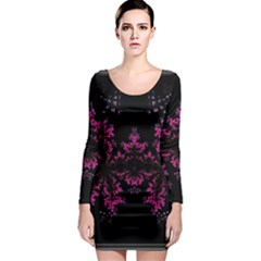 Violet Fractal On Black Background In 3d Glass Frame Long Sleeve Bodycon Dress by Simbadda