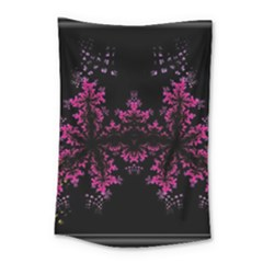 Violet Fractal On Black Background In 3d Glass Frame Small Tapestry by Simbadda