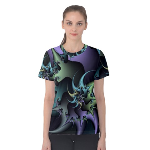 Fractal Image With Sharp Wheels Women s Cotton Tee by Simbadda