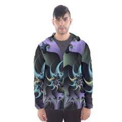 Fractal Image With Sharp Wheels Hooded Wind Breaker (men) by Simbadda