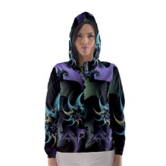 Fractal Image With Sharp Wheels Hooded Wind Breaker (women) by Simbadda
