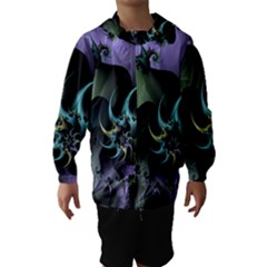 Fractal Image With Sharp Wheels Hooded Wind Breaker (kids) by Simbadda