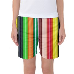 Stripes Colorful Striped Background Wallpaper Pattern Women s Basketball Shorts