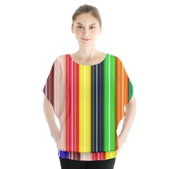 Stripes Colorful Striped Background Wallpaper Pattern Blouse by Simbadda