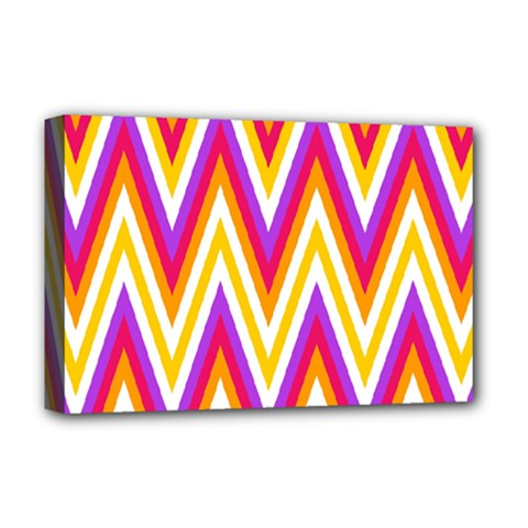 Colorful Chevrons Zigzag Pattern Seamless Deluxe Canvas 18  X 12   by Simbadda