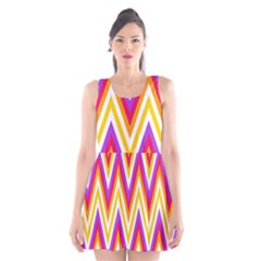 Colorful Chevrons Zigzag Pattern Seamless Scoop Neck Skater Dress
