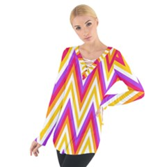 Colorful Chevrons Zigzag Pattern Seamless Women s Tie Up Tee by Simbadda