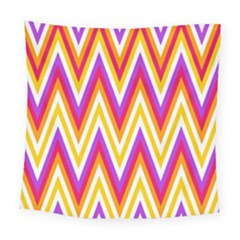 Colorful Chevrons Zigzag Pattern Seamless Square Tapestry (large)