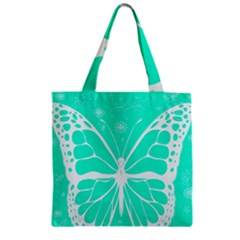 Butterfly Cut Out Flowers Zipper Grocery Tote Bag