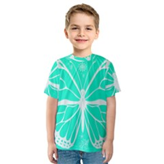 Butterfly Cut Out Flowers Kids  Sport Mesh Tee by Simbadda