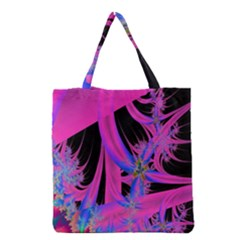 Fractal In Bright Pink And Blue Grocery Tote Bag by Simbadda