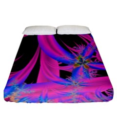 Fractal In Bright Pink And Blue Fitted Sheet (king Size) by Simbadda