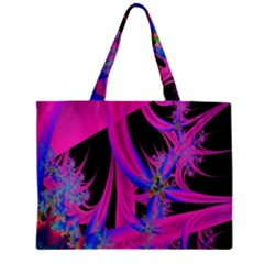 Fractal In Bright Pink And Blue Zipper Mini Tote Bag