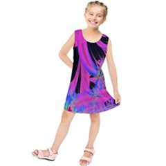 Fractal In Bright Pink And Blue Kids  Tunic Dress