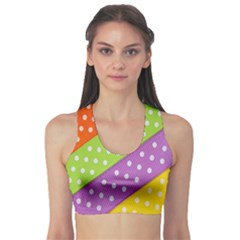 Colorful Easter Ribbon Background Sports Bra by Simbadda