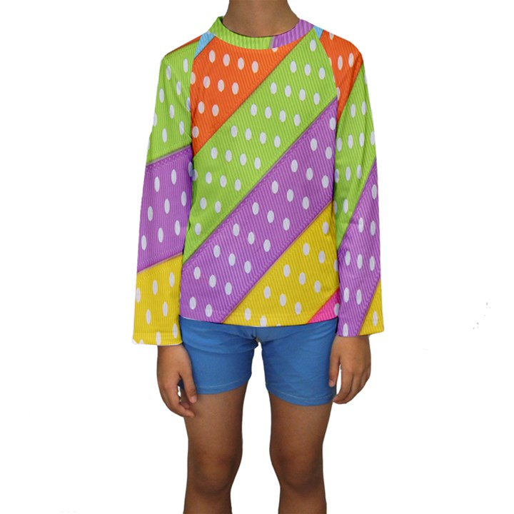 Colorful Easter Ribbon Background Kids  Long Sleeve Swimwear