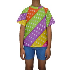 Colorful Easter Ribbon Background Kids  Short Sleeve Swimwear by Simbadda