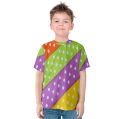 Colorful Easter Ribbon Background Kids  Cotton Tee