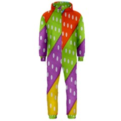 Colorful Easter Ribbon Background Hooded Jumpsuit (men)  by Simbadda