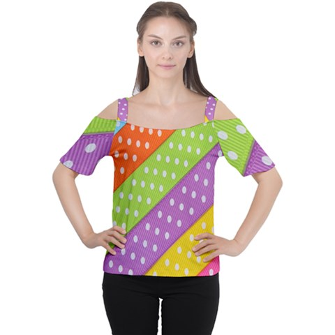 Colorful Easter Ribbon Background Women s Cutout Shoulder Tee by Simbadda