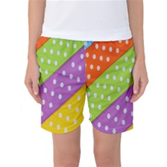 Colorful Easter Ribbon Background Women s Basketball Shorts by Simbadda