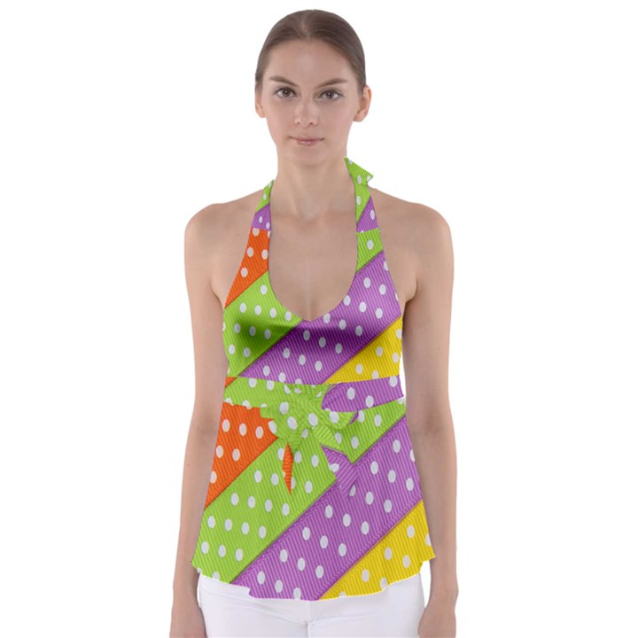 Colorful Easter Ribbon Background Babydoll Tankini Top