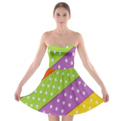 Colorful Easter Ribbon Background Strapless Bra Top Dress by Simbadda