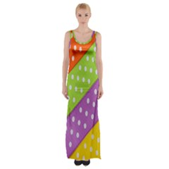 Colorful Easter Ribbon Background Maxi Thigh Split Dress by Simbadda
