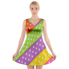 Colorful Easter Ribbon Background V Neck Sleeveless Skater Dress by Simbadda