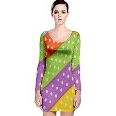 Colorful Easter Ribbon Background Long Sleeve Velvet Bodycon Dress by Simbadda