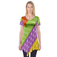 Colorful Easter Ribbon Background Short Sleeve Tunic  by Simbadda