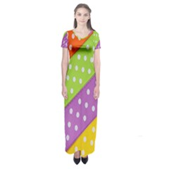 Colorful Easter Ribbon Background Short Sleeve Maxi Dress by Simbadda