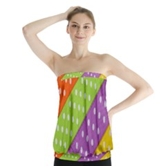 Colorful Easter Ribbon Background Strapless Top by Simbadda