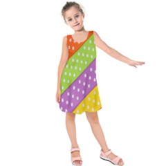 Colorful Easter Ribbon Background Kids  Sleeveless Dress