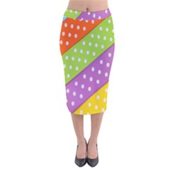 Colorful Easter Ribbon Background Velvet Midi Pencil Skirt by Simbadda