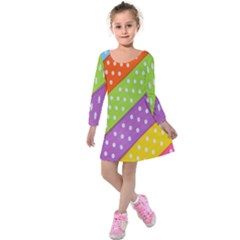 Colorful Easter Ribbon Background Kids  Long Sleeve Velvet Dress by Simbadda