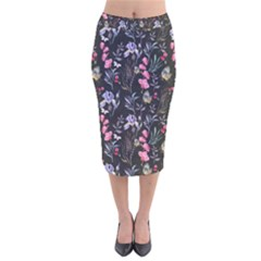 Wildflowers I Velvet Midi Pencil Skirt