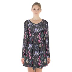 Wildflowers I Long Sleeve Velvet V Neck Dress