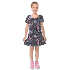 Wildflowers I Kids  Short Sleeve Velvet Dress