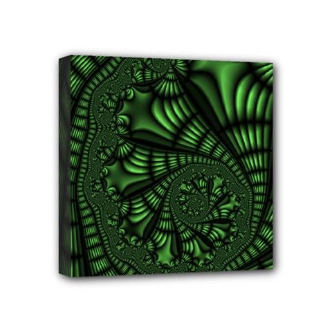 Fractal Drawing Green Spirals Mini Canvas 4  X 4  by Simbadda