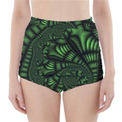 Fractal Drawing Green Spirals High Waisted Bikini Bottoms by Simbadda