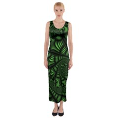 Fractal Drawing Green Spirals Fitted Maxi Dress by Simbadda