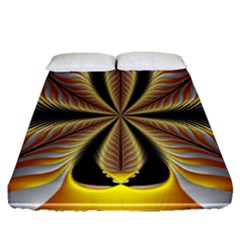 Fractal Yellow Butterfly In 3d Glass Frame Fitted Sheet (queen Size) by Simbadda