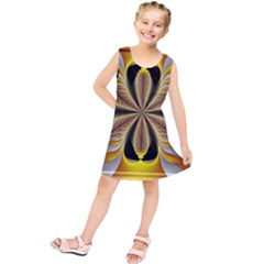 Fractal Yellow Butterfly In 3d Glass Frame Kids  Tunic Dress by Simbadda