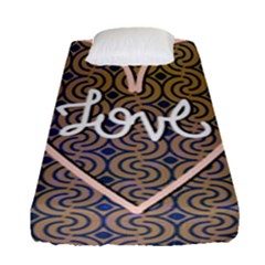 I Love You Love Background Fitted Sheet (single Size) by Simbadda